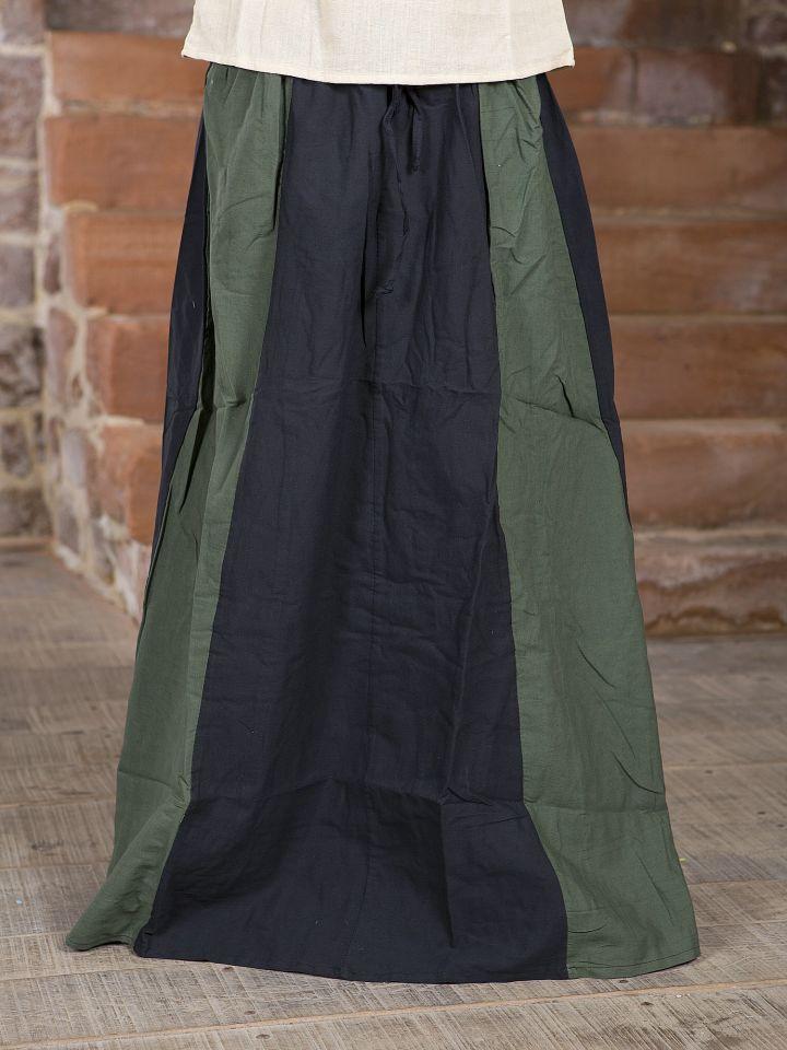 Jupe Médiévale bicolore noire et verte