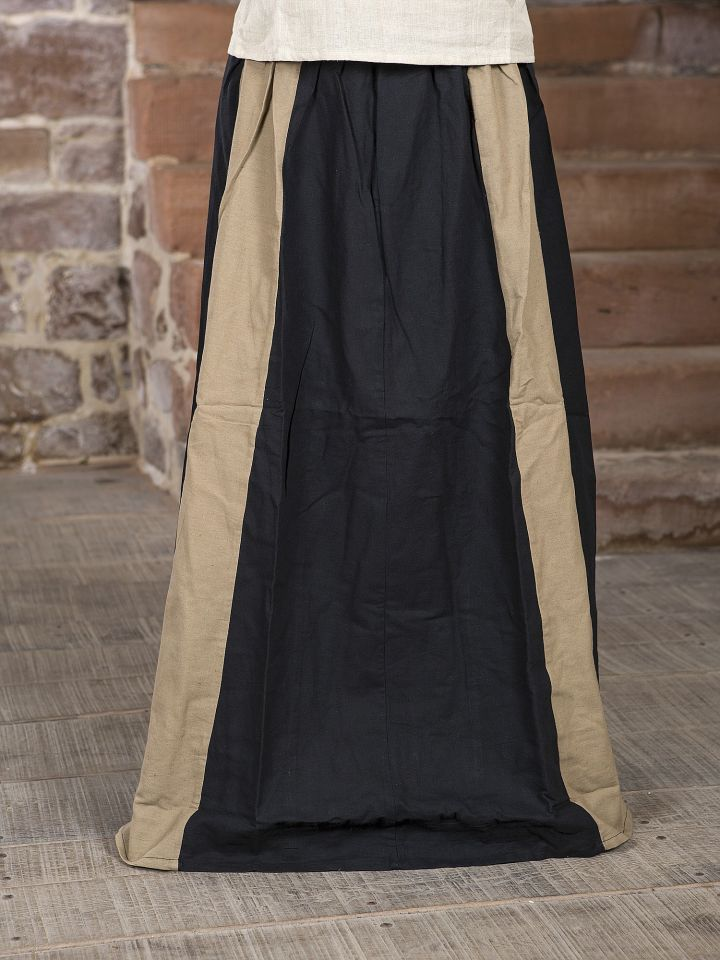 Jupe médiévale bicolore noire et écrue
