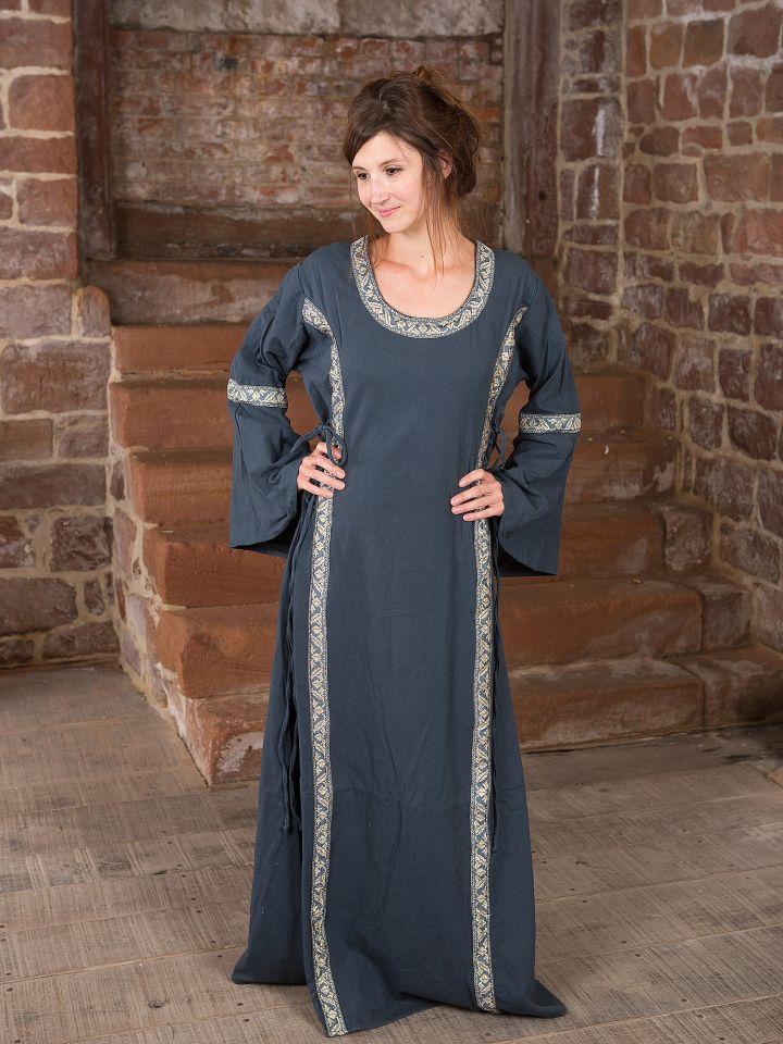 Robe médiévale bleue, lacée sur les côtés