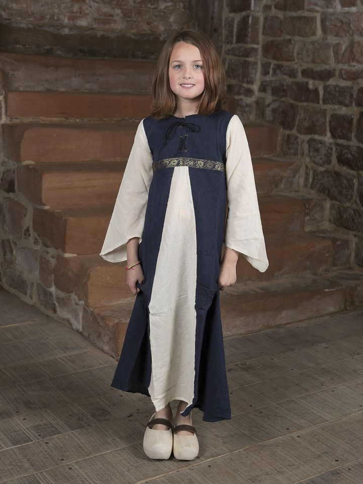 """Robe médiévale """"Piccolina"""" en bleu et écru 128/134"""