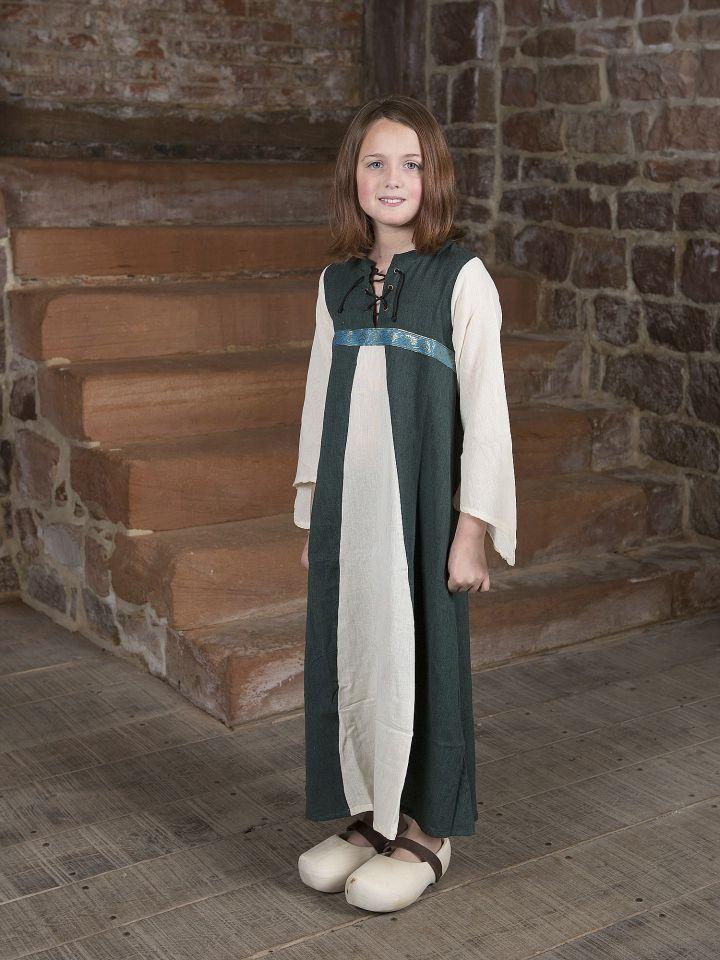 """Robe médiévale """"Piccolina"""" en vert et écru 140/146"""
