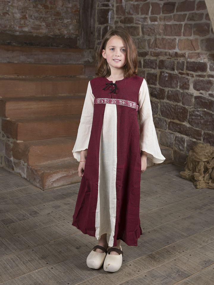 """Robe médiévale """"Piccolina"""" en rouge et écru 128/134"""