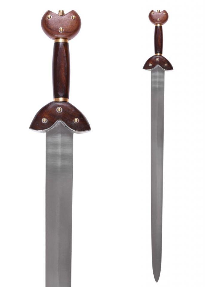 Epée celtique, avec poignée en bois et fourreau en acier
