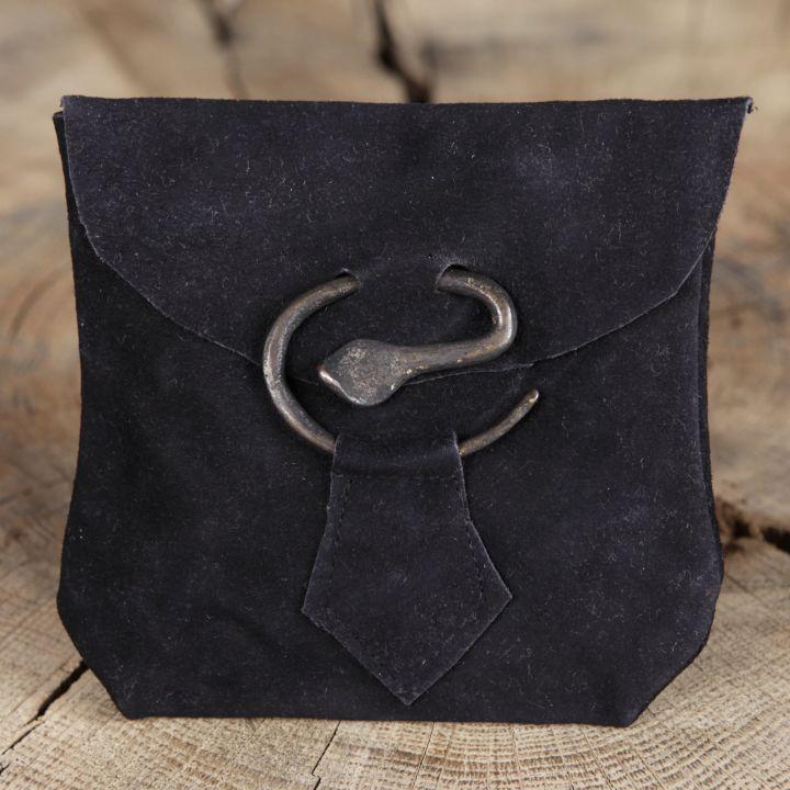 Pochette en daim avec boucle serpent, noire