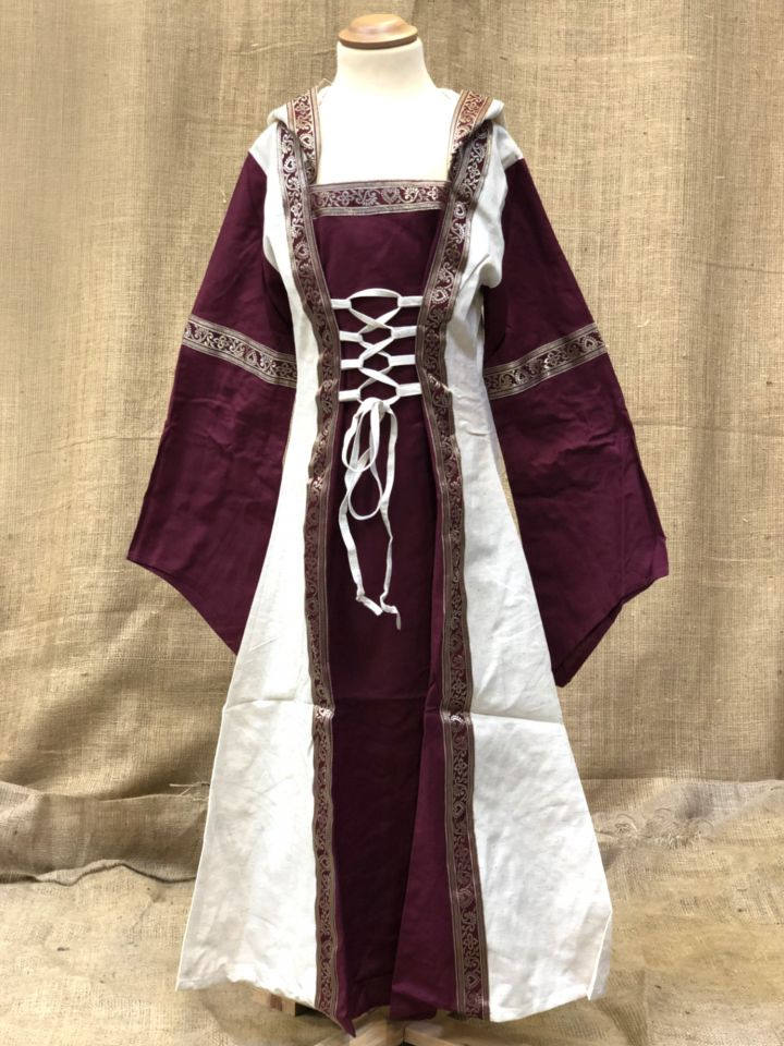 Robe à capuche pour fillette écrue/rouge