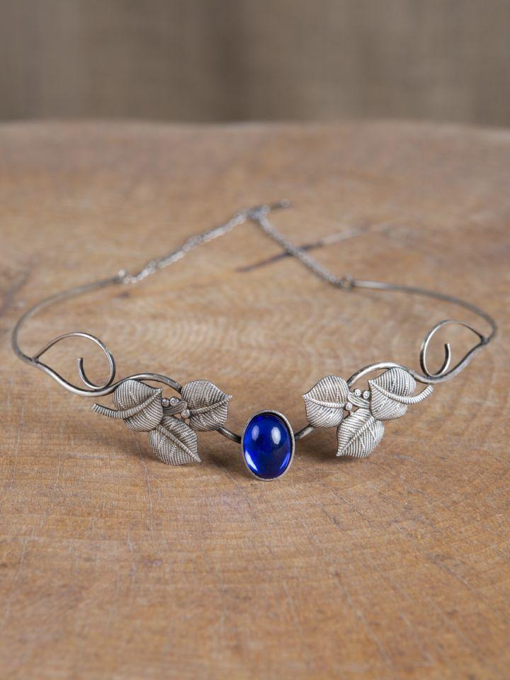Tiare avec feuilles et pierre bleue