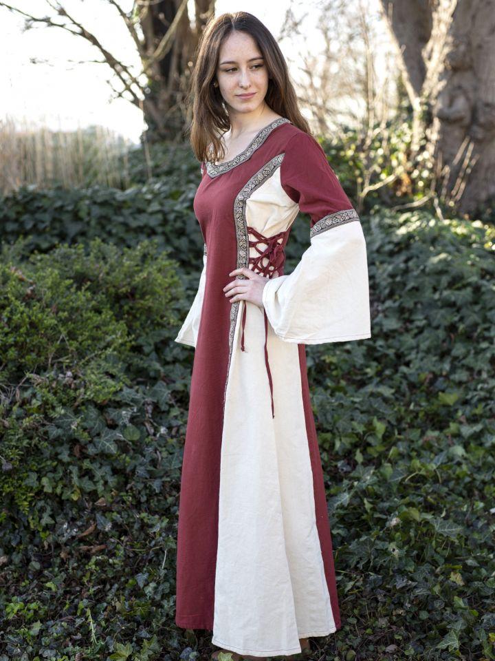 Robe médiévale bicolore à galons