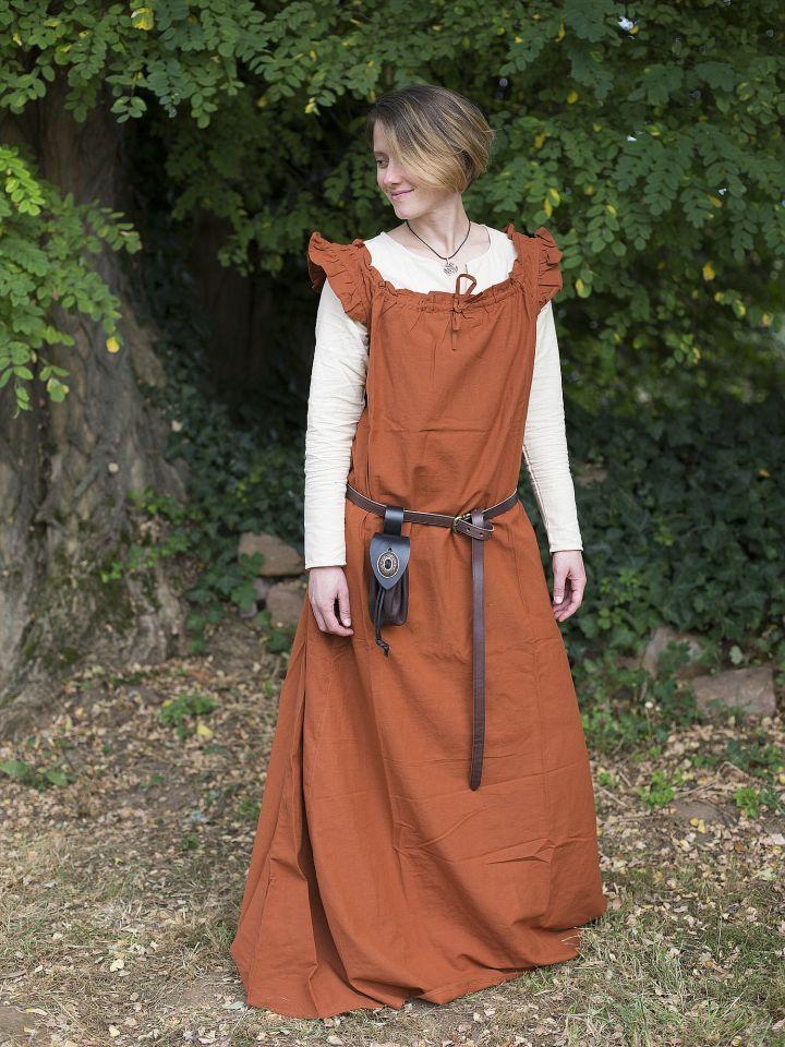 Robe médiévale sans manche à volant en rouille