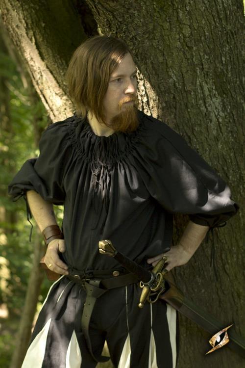 Chemise médiévale froncée au col en noir XL/XXL