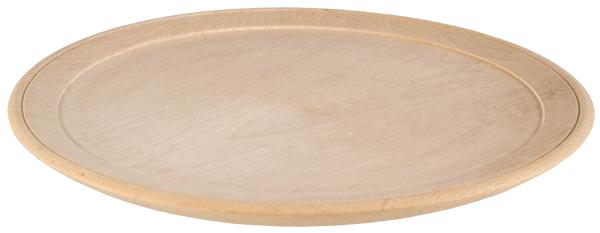 Assiette plate en bois de hêtre
