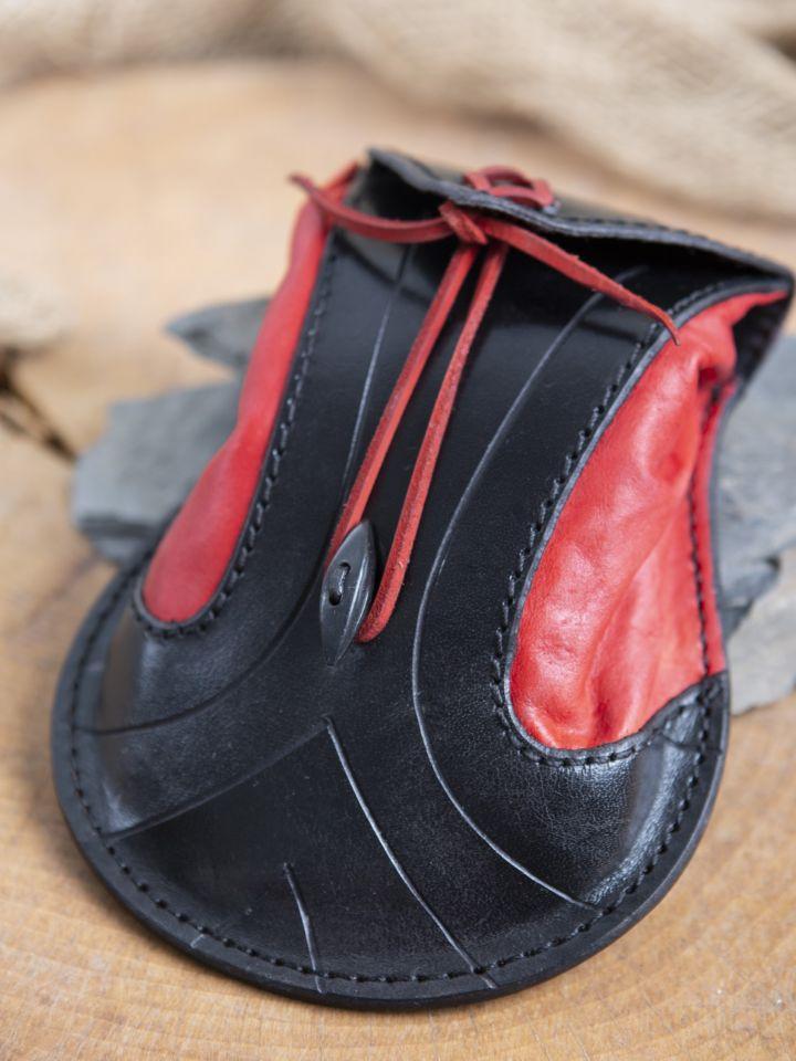 Bourse elfique en cuir épais en rouge et noir