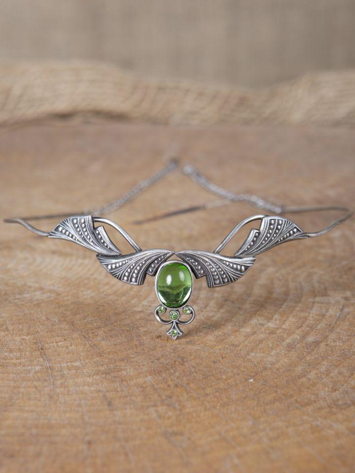 Tiare avec pierres vert foncé