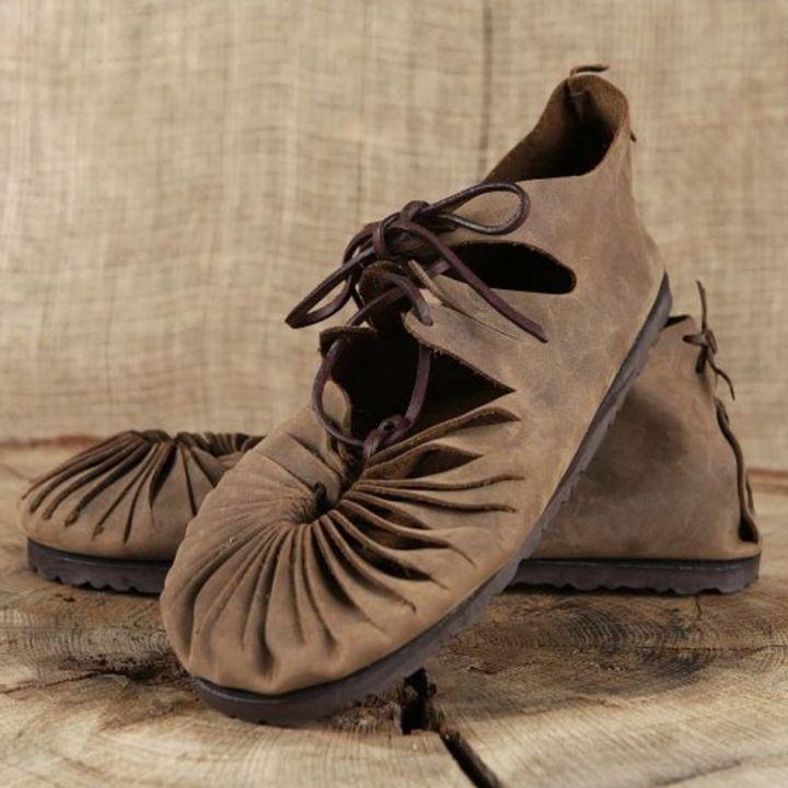 Ballerines médiévales en cuir avec semelle 40   noir