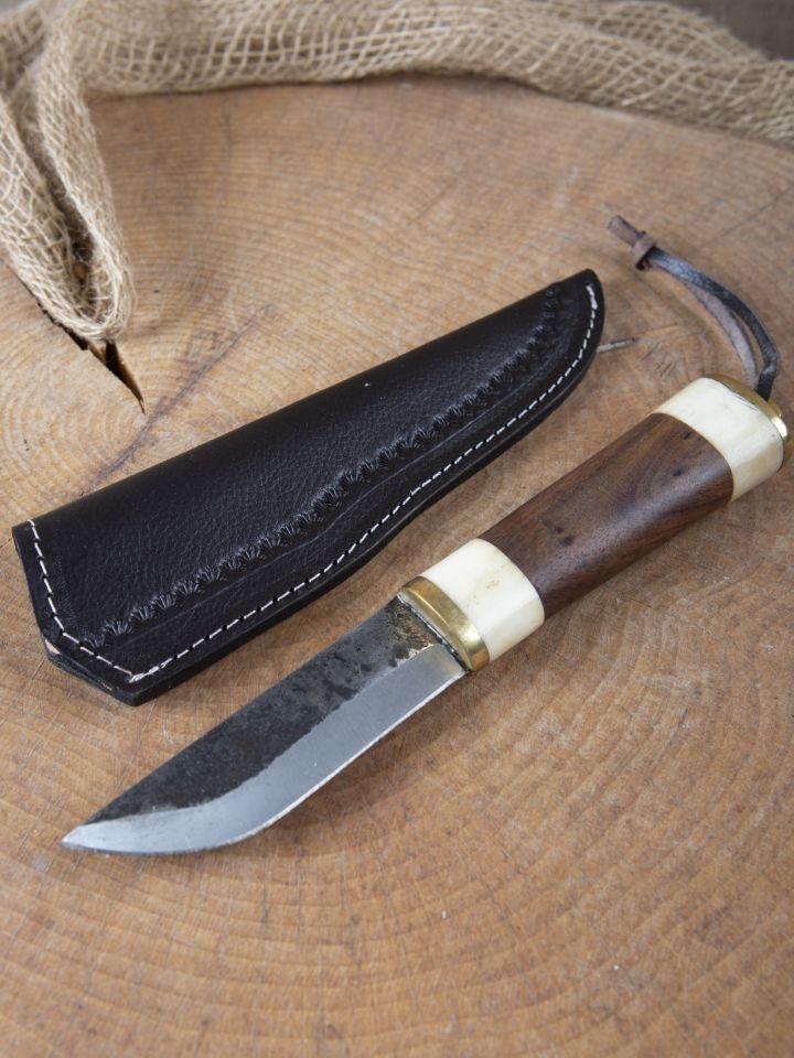 Couteau utilitaire avec os / manche en bois
