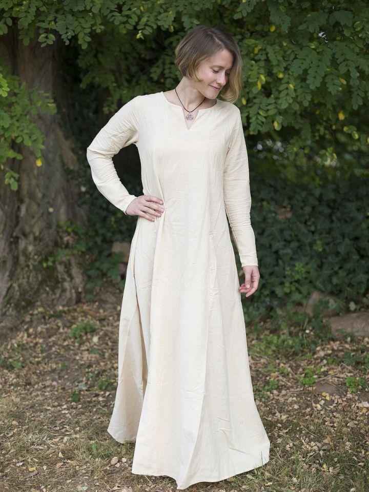 Robe médiévale simple en blanc-écru L