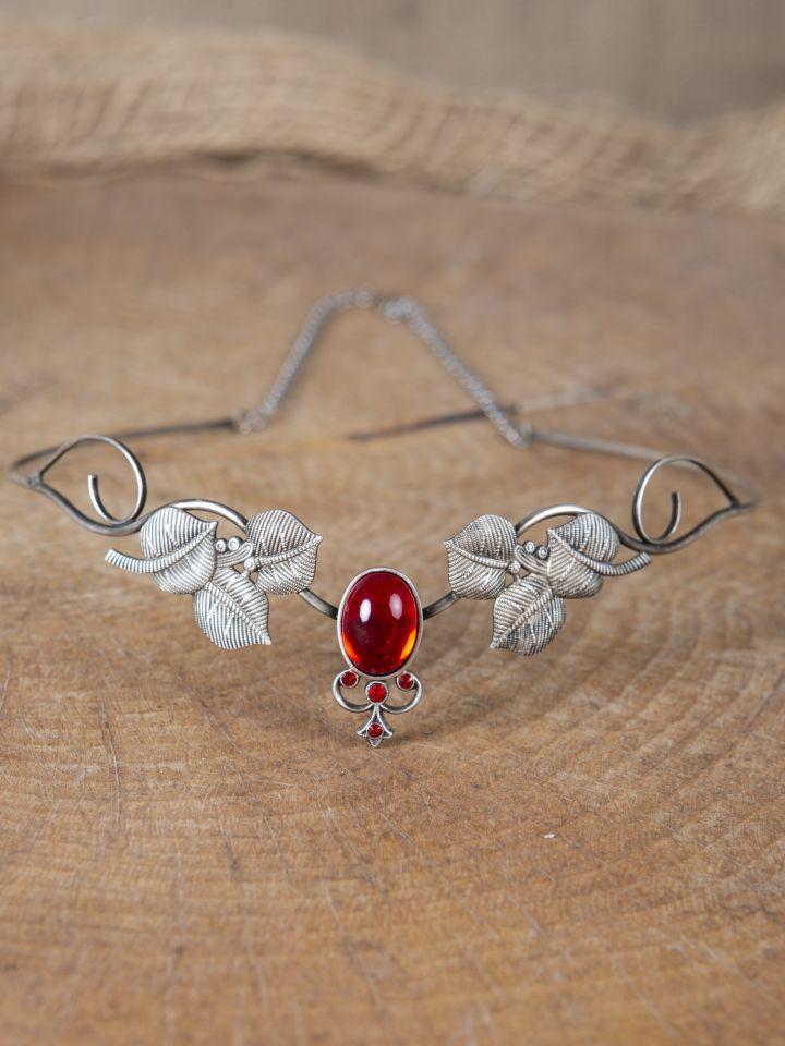 Couronne tiare avec perles rouges