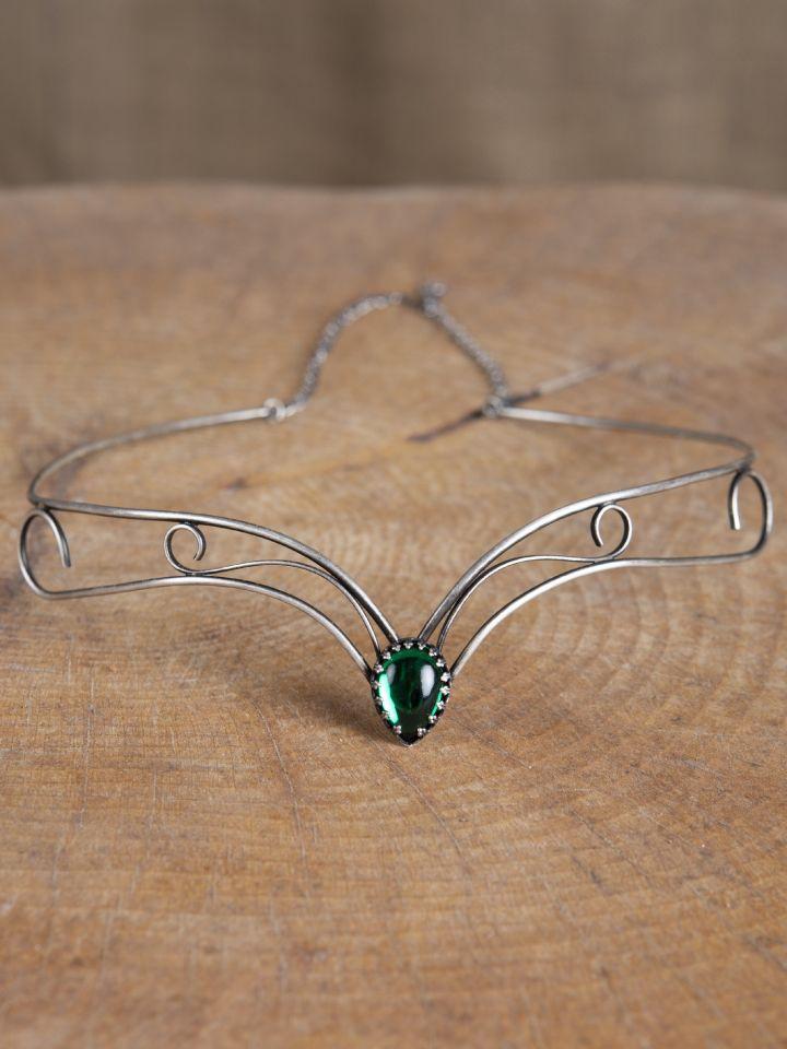 Diadème avec entrelacs et pierre verte