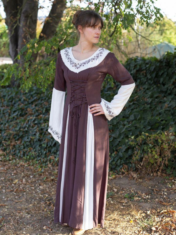 Robe médiévale  bicolore avec petite broderie en marron et blanc