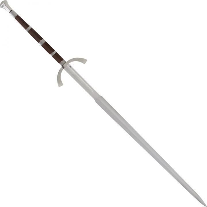 Epée à deux mains, fusée en bois incrusté d'acier