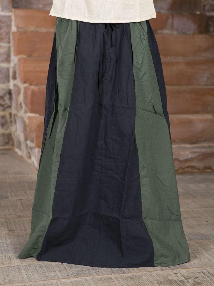 Jupe Médiévale bicolore noire et verte S/M