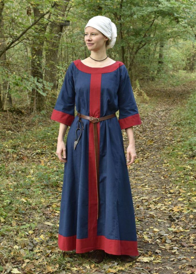 Robe médiévale Radegonde bleue-rouge