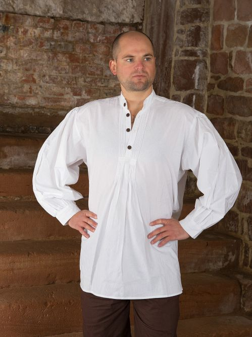 Chemise médiévale, boutons en bois, en blanc M