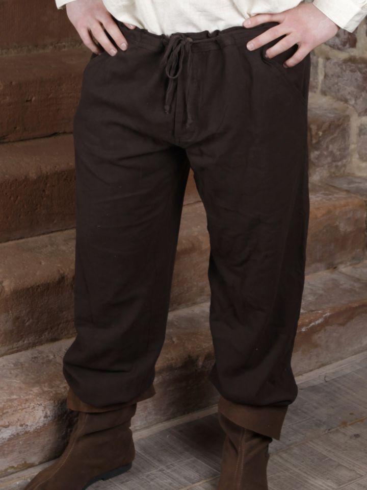 Pantalon à laçage en coton, marron foncé L
