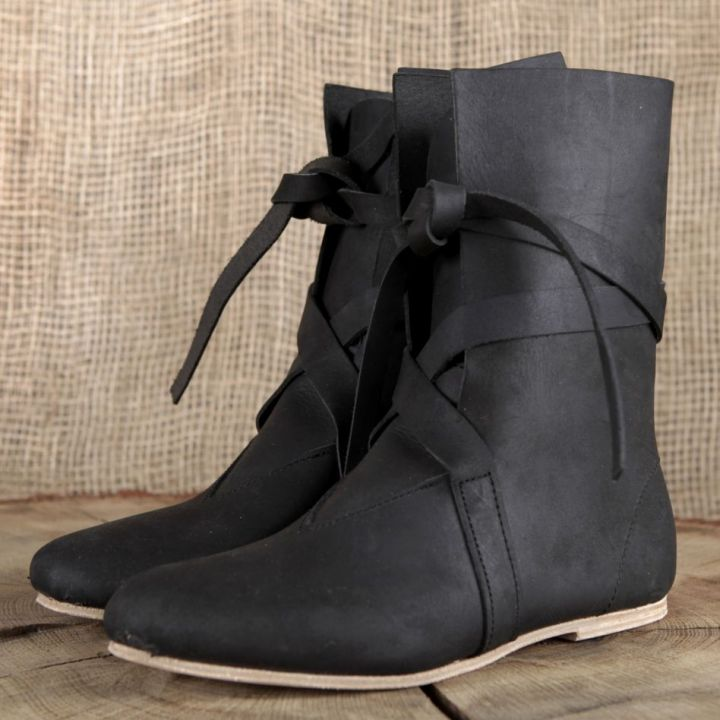 Bottines viking en cuir noir
