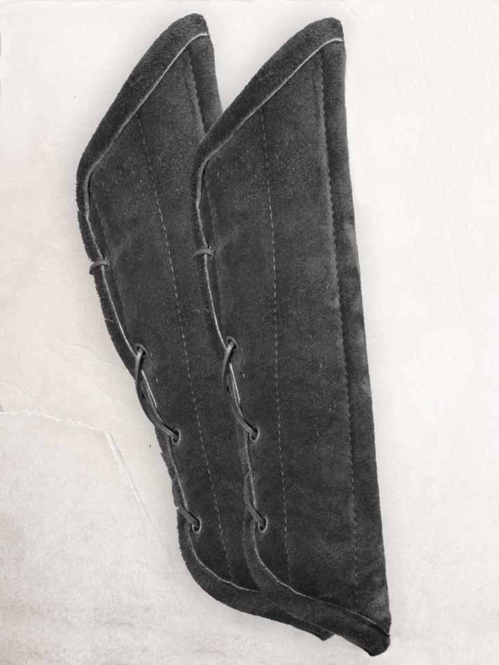 Gambison d'avant-bras, cuir suédé noir