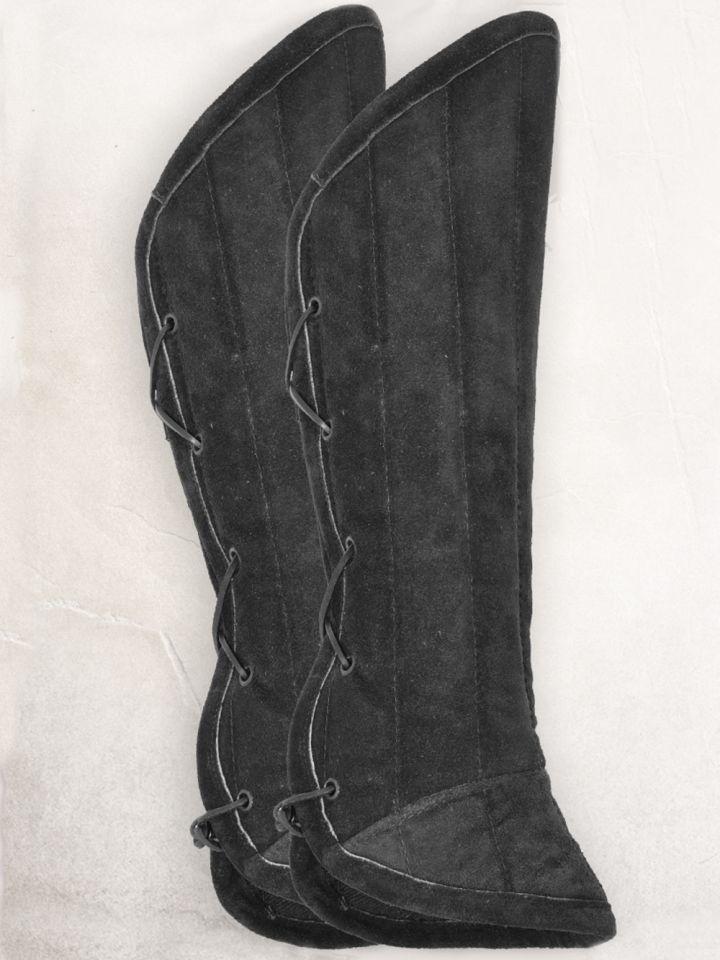 Gambisons de jambes en daim, noirs