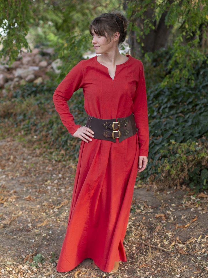 Robe médiévale simple, rouge