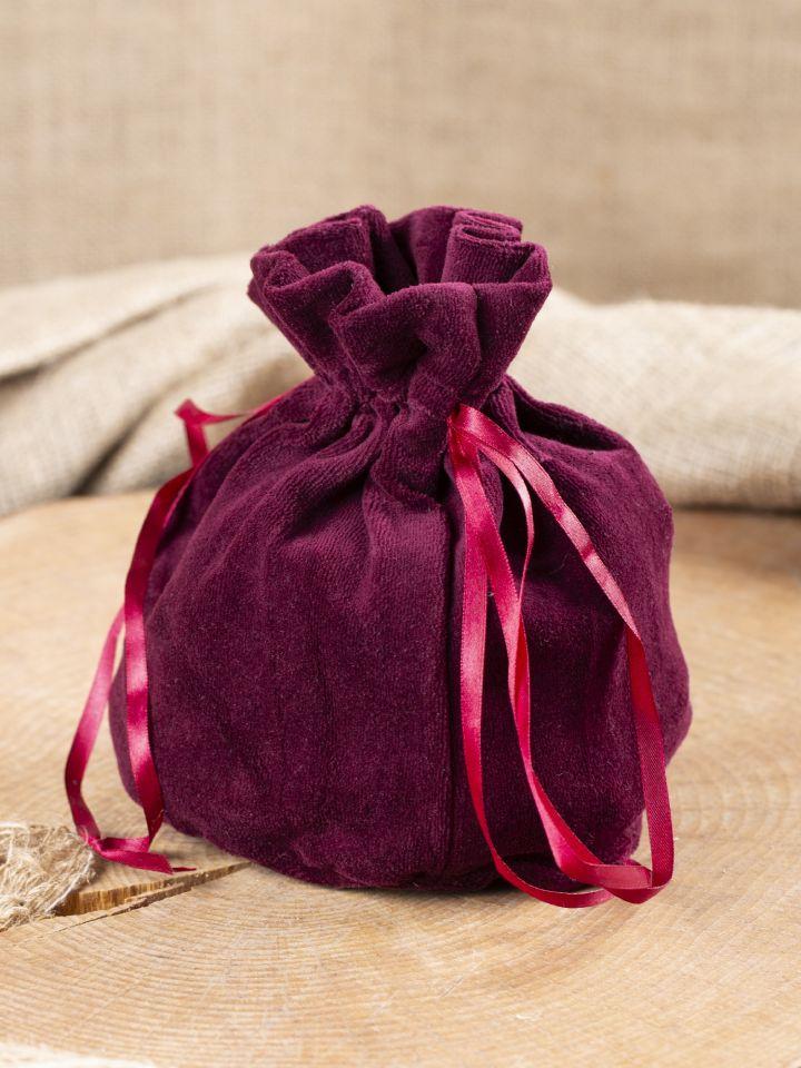 Bourse sac en velours bordeaux