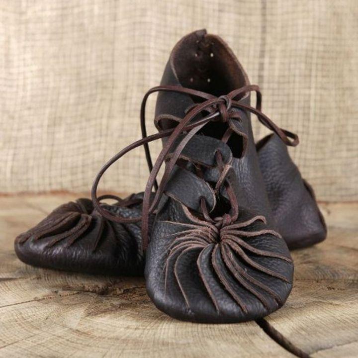 Ballerines médiévales en cuir 40   noir