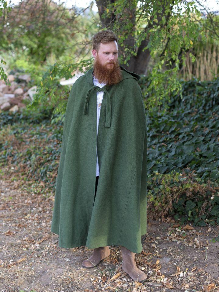 Cape en coton rustique en vert à longue capuche