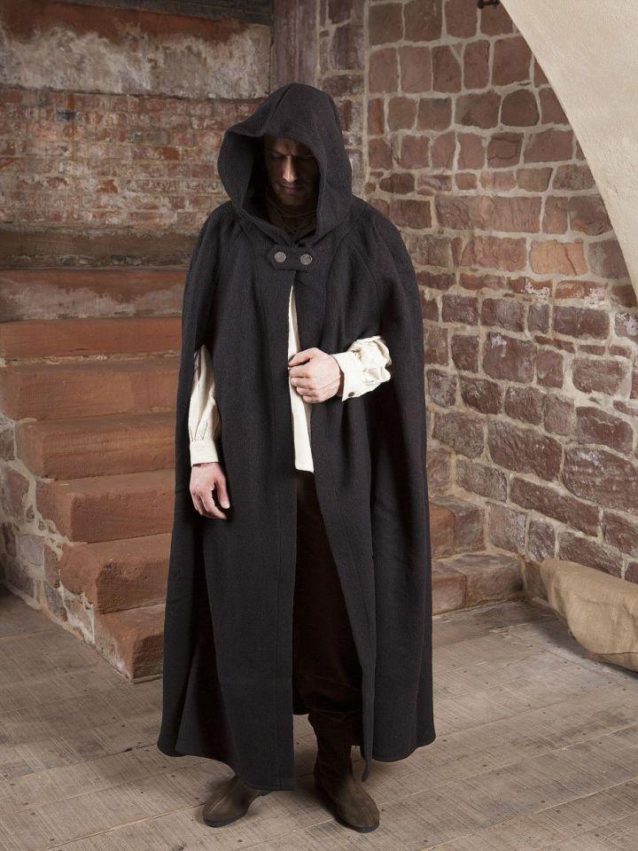 Manteau en laine à capuche en noir 150 cm