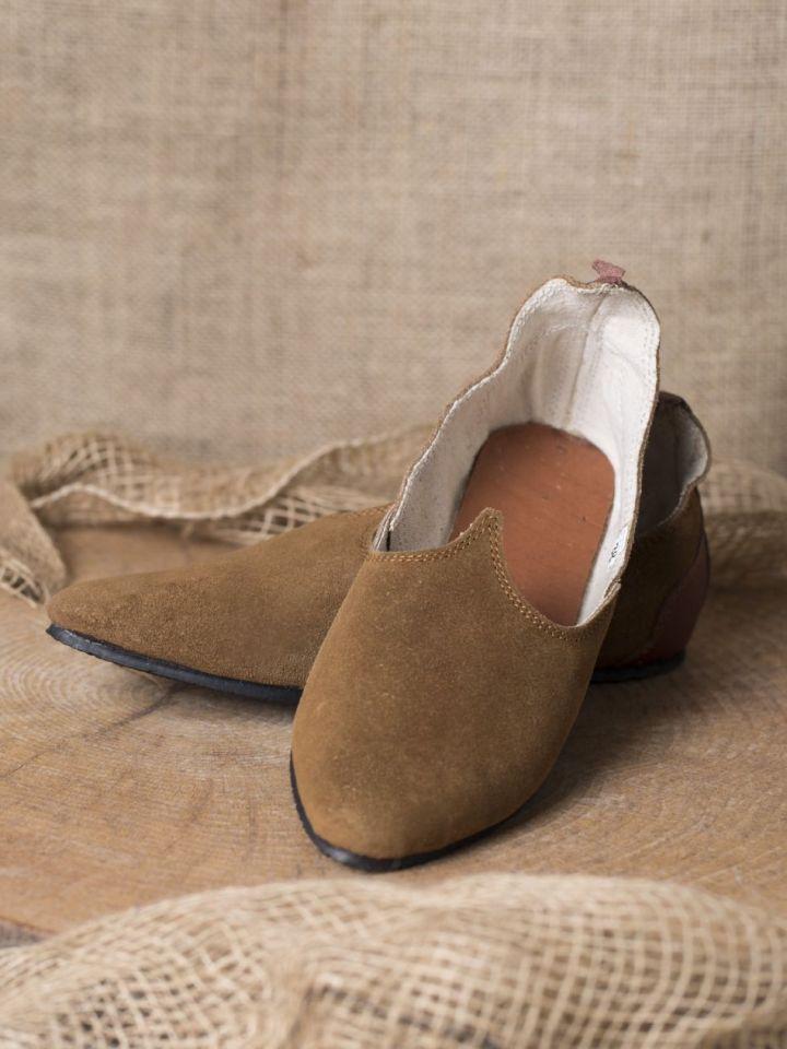 Chaussures médiévales, semelle en caoutchouc, marron 40
