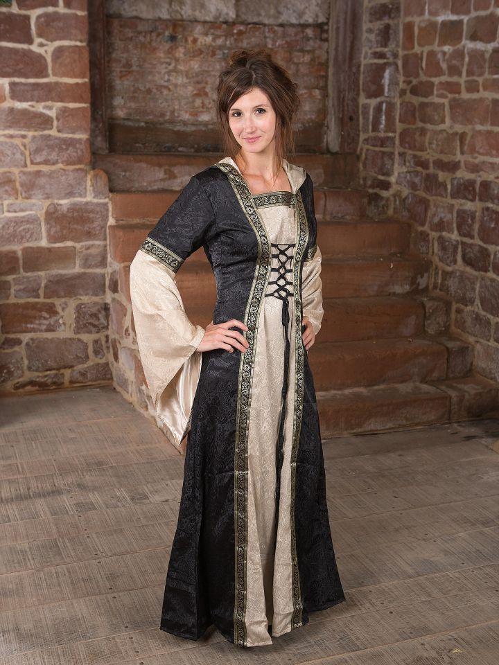 Robe médiévale avec capuche en noir et écru