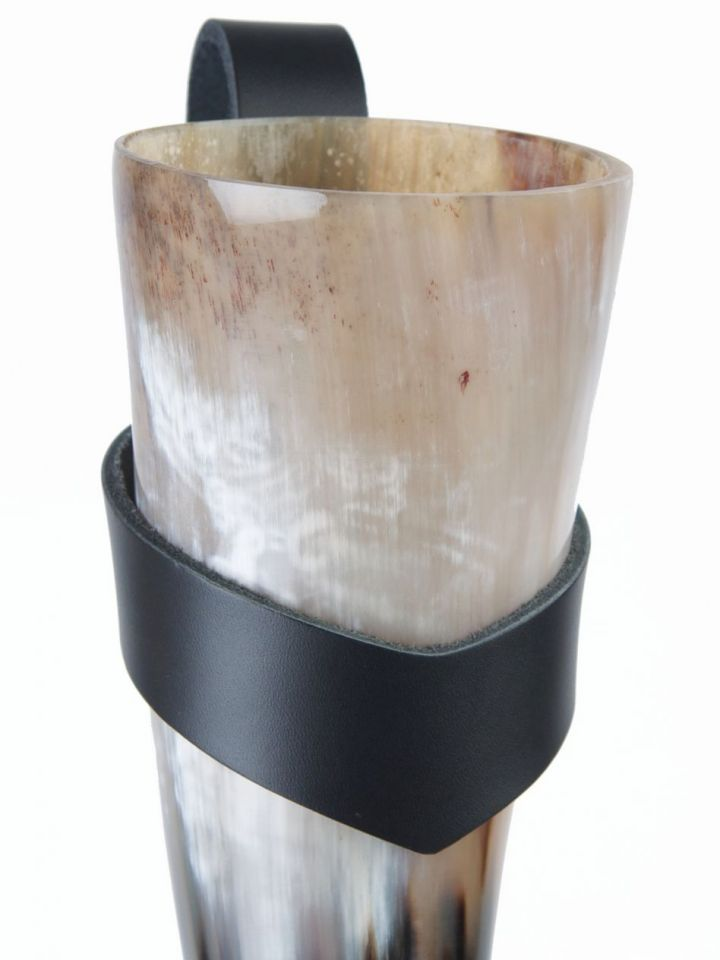 Porte corne en cuir noir 0,5 litres