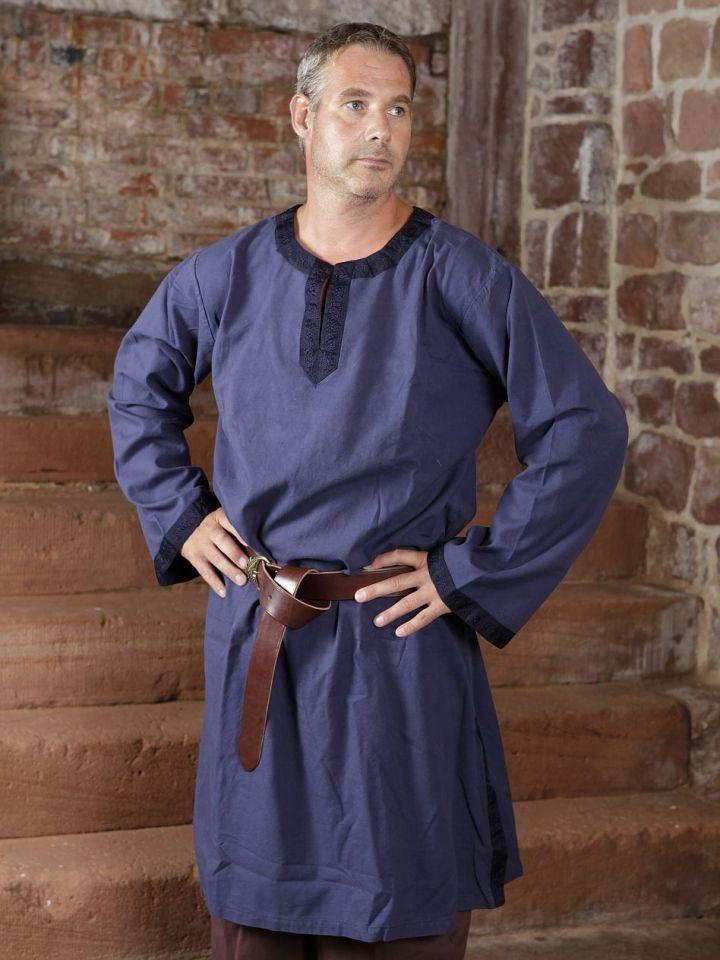 Tunique médiévale à galon en bleu XL