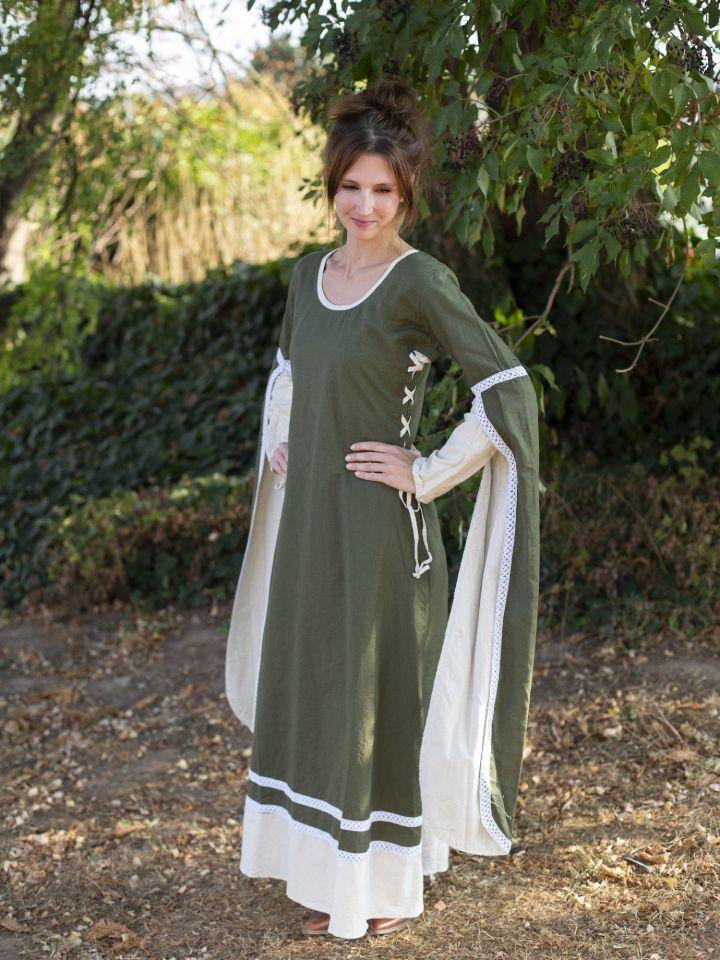 Robe médiévale manches flottantes, vert/écru