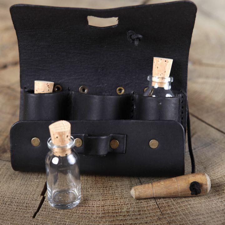 Sacoche de ceinture en cuir noir et ses trois fioles