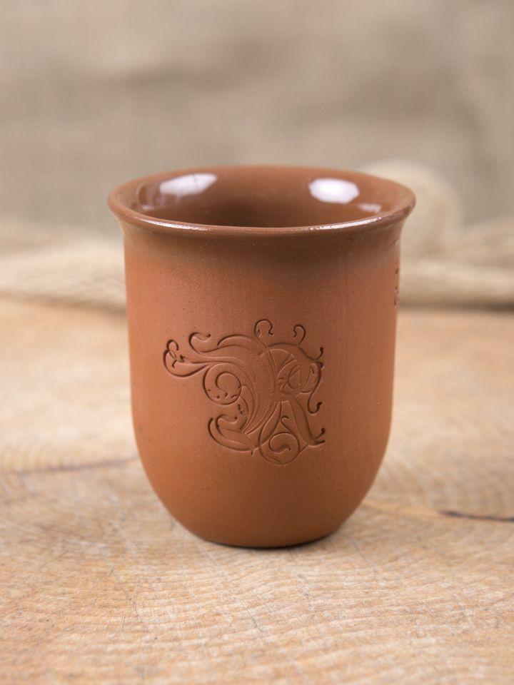 """Tasse en argile gravée aux initiales """"Ritterladen"""" 0,1 L"""