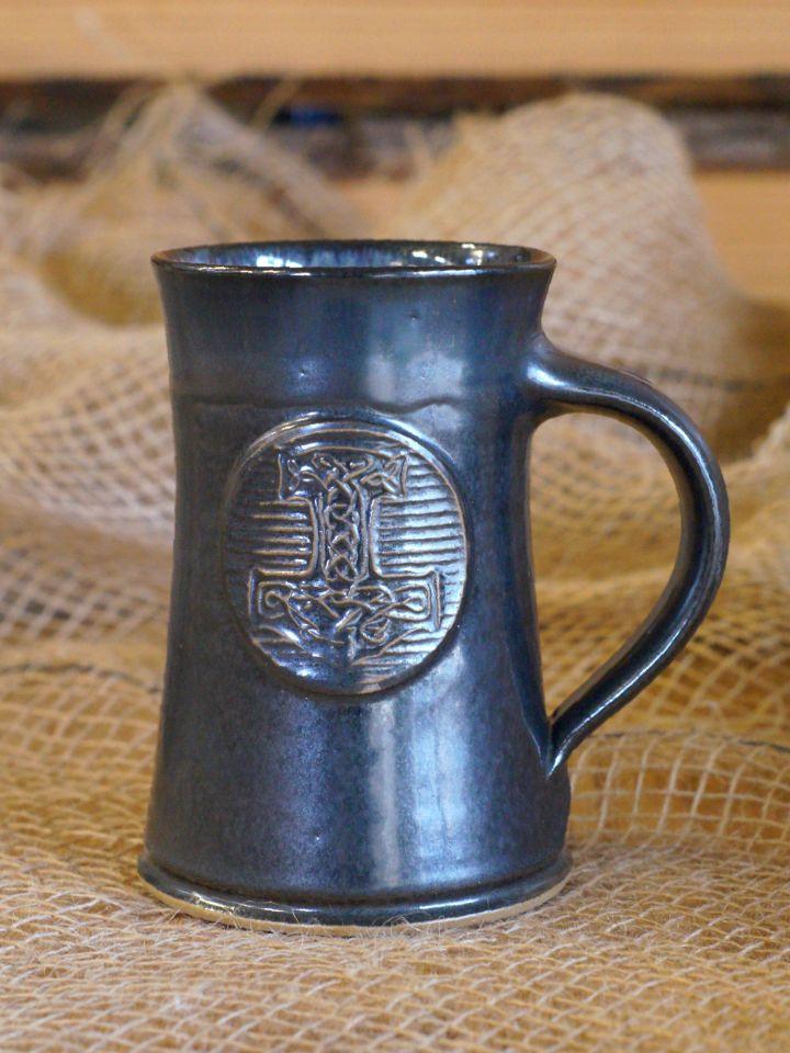 Chope à bière motif Marteau de Thor, en gris-bleu