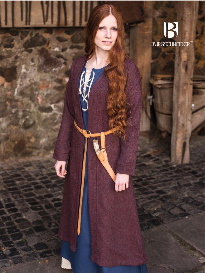 Manteau viking Siggi, en bordeaux et gris