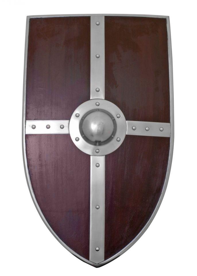 Bouclier médiéval en bois et métal