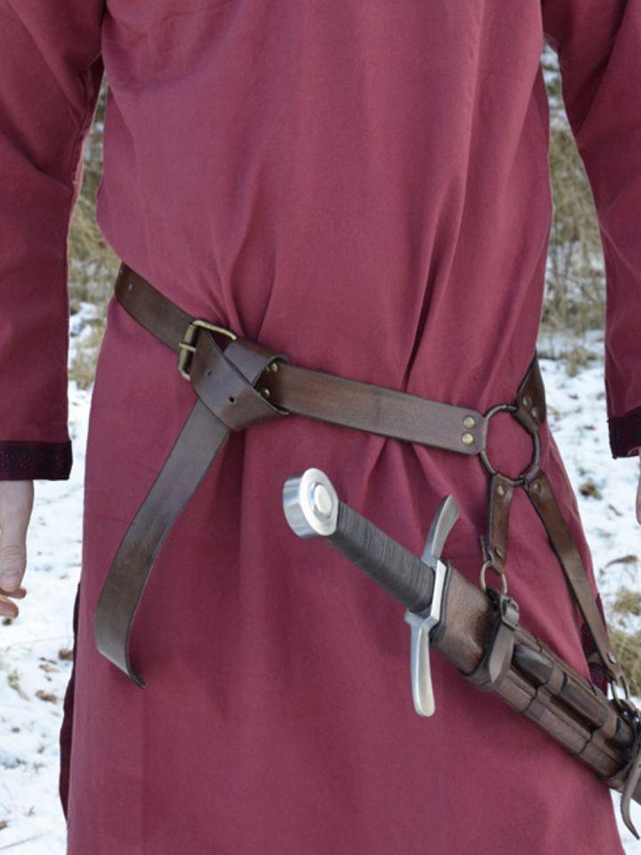 Ceinture porte épée en cuir marron