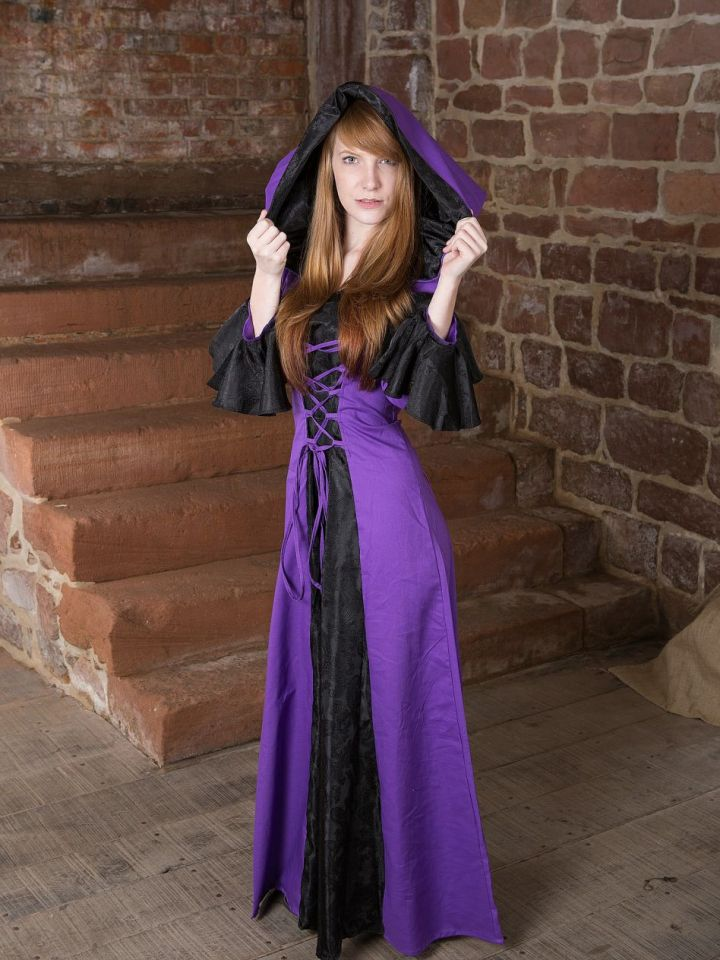 Robe médiévale Clara en noir et lilas 38