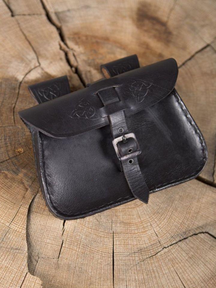 Sacoche de ceinture en cuir, noire