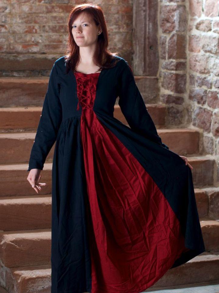 Robe médiévale en coton noire et rouge