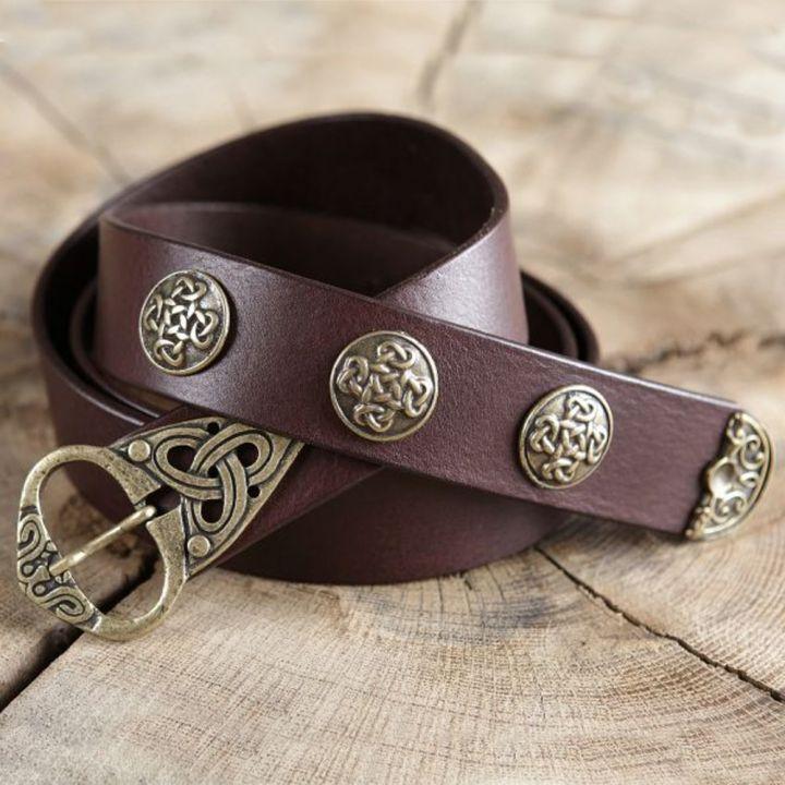 Ceinture cuir marron à motifs celtiques